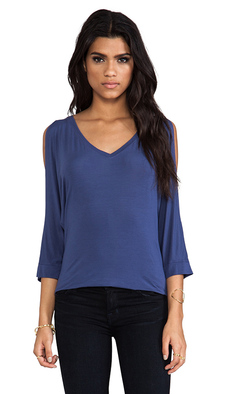 Michael Stars 3/4 Sleeve Cold Shoulder V Neck Tee in Blue