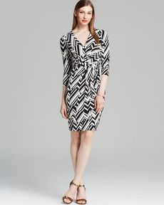 Anne Klein Dress - Three Quarter Sleeve Chevron Side Ruched Matte Jersey