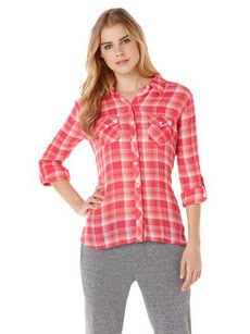 crinkle mermaid plaid long sleeve two pocket shirt