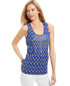 Charter Club Petite Printed Pleated Tank
