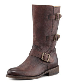 Frye Jayden Motorcycle Buckle Boot, Dark Brown