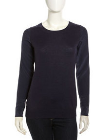 Joie Silk-Sleeve Knit Sweater, Dark Navy
