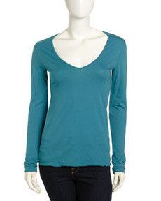 James Perse Long-Sleeve Jersey V-Neck Tee, Hudson