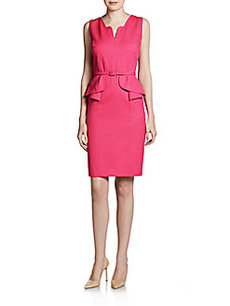 David Meister Belted Mini-Peplum Dress