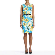 Blue and Yellow Floral Sheath Dress