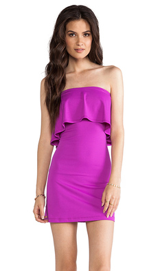 Susana Monaco Sansa Ruffle Top Strapless Dress in Purple
