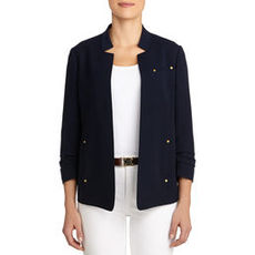 Notched Lapel Jacket with Ruched Sleeves (Petite)