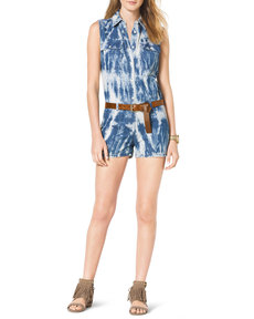 MICHAEL Michael Kors Tie-Dye Belted Denim Jumpsuit