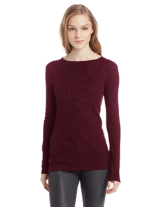 Three Dots Women's Long Sleeve Boatneck Tee