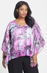 Alex Evenings Print Tiered V-Neck Blouse (Plus Size)