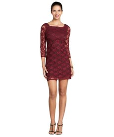 A.B.S. by Allen Schwartz wine three quarter sleeve dress