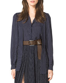 Polka-Dot Tie-Neck Blouse   Polka-Dot Tie-Neck Blouse