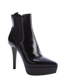 Prada black patent leather platform ankle boots