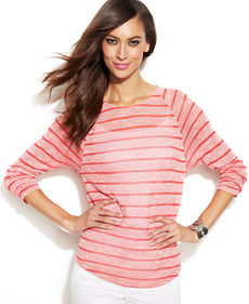 INC International Concepts Striped Long-Sleeve Top