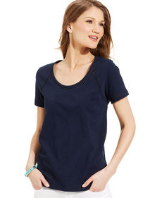 Jones New York Short-Sleeve Seamed Tee