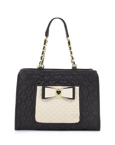 Betsey Johnson Two-Tone Quilted Heart Tote Bag, Black