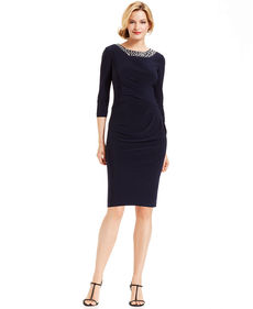 Alex Evenings Petite Three-Quarter-Sleeve Jewel-Trim Sheath