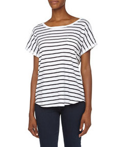French Connection Slouchy Striped Slub Tee, White/Nocturnal