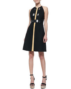 Sleeveless Dress with Turn-Locks   Sleeveless Dress with Turn-Locks