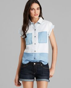 Paige Denim Shirt - Amelia Color Block