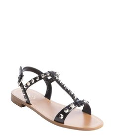 Prada black leather silver studded t-strap flat sandals