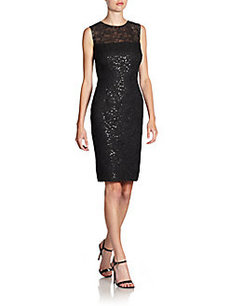 Carmen Marc Valvo Sequin Lace Cocktail Dress