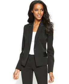 Alfani Petite Faux-Leather-Panel Blazer