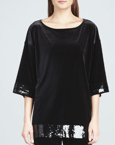 Joan Vass Velour Sequin-Trimmed Tunic