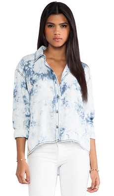 Michael Stars High Low Button Down Shirt in Blue