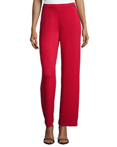 St. John Stove-Cut Santana-Knit Pants, Ruby