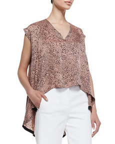 Robert Rodriguez Cheetara Print Billowy Sleeveless Blouse, Coral