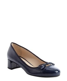 Prada royal blue saffiano leather logo imprinted bow tie detail pumps