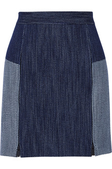 Tibi Basketweave denim mini skirt