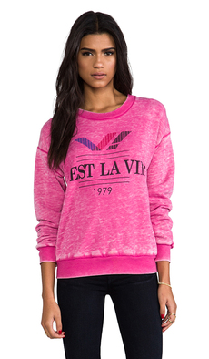 Rebel Yell C'est La Vie! 70's Sweatshirt in Pink