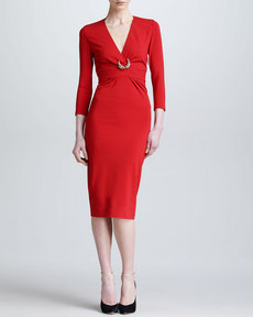 Roberto Cavalli Three-Quarter-Sleeve Ponte Dress, Red