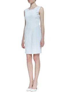 Elie Tahari Sleeveless Croc Jacquard Gramercy Dress, White