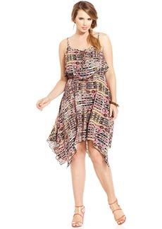 Ruby Rox Plus Size Sleeveless Handkerchief-Hem Dress