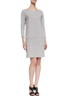 Joan Vass Knit Zip-Pocket Shift Dress