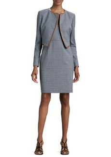 Albert Nipon Mini-Houndstooth Sleeveless Dress & Jacket Set