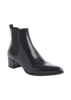 Prada black pointed toe leather Chelsea boot