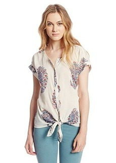 Lucky Brand Women's Paisley Tie Front Top