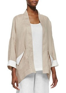 Go Silk Dropped-Shoulder Linen Jacket, Sesame