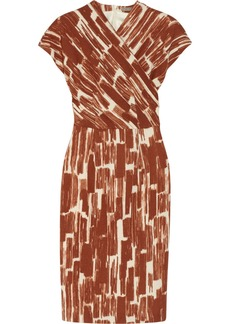 Bottega Veneta Printed wool-crepe wrap-effect dress