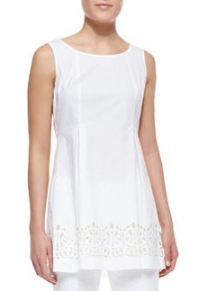 Lafayette 148 New York Zaharia Long A-Line Top with Cutouts