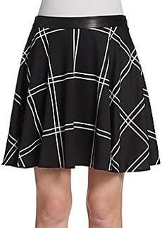 Saks Fifth Avenue RED Plaid Ponte Swing Skirt