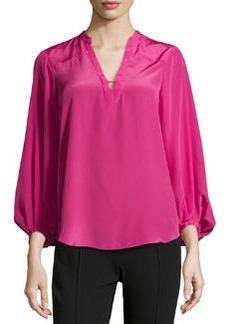Diane von Furstenberg Latern-Sleeve Caftan Faille Top, Pink Dhalia