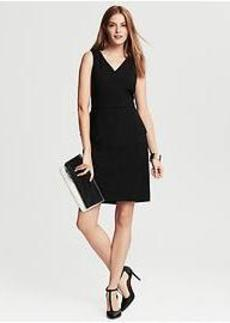Black Lightweight Wool Peplum Dress