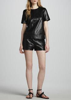 J Brand Ready to Wear Tullia Snake-Print Leather Shorts
