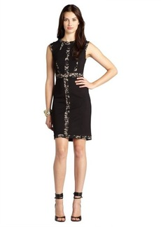 A.B.S. by Allen Schwartz black and nude stretch knit lace detail cap sleeve dress