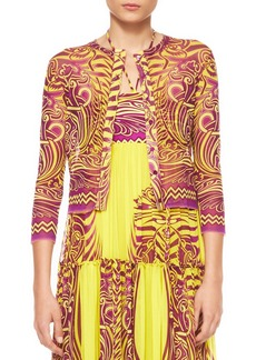 Jean Paul Gaultier Cropped Printed Tulle Cardigan, Yellow